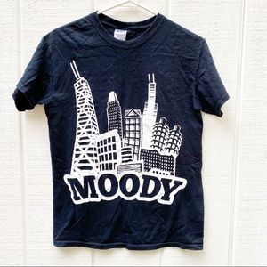 Emo Moody city scape black t shirt size small